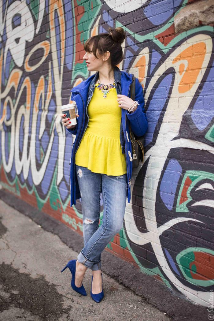 Toronto Street Style - Yellow Peplum Cobalt Heels Jeans and Denim
