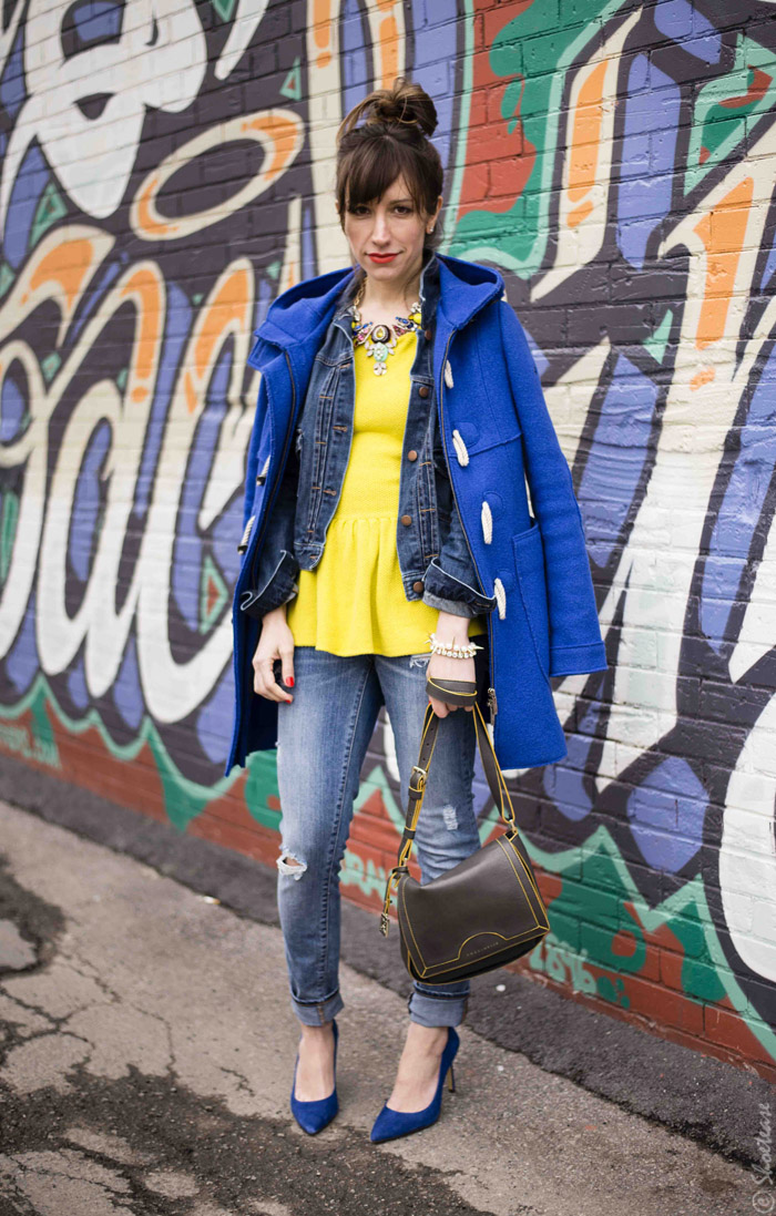 Toronto Street Style - Yellow Peplum Cobalt Heels and Blue Denim