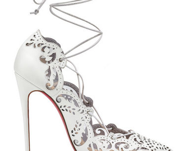 Christian Louboutin Impera White Laser Cut Lace Up Pumps