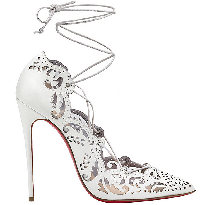 "feeb60ffb5bc Christian Louboutin ""Impera"" White Laser-Cut   Laced Stiletto Pumps"