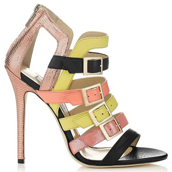 Jimmy Choo Booster Strappy Stiletto Sandals Heels Metallic Yellow Rose Gold