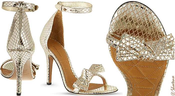 Isabel Marant Play Gold Metallic Scale Print Bow Sandals