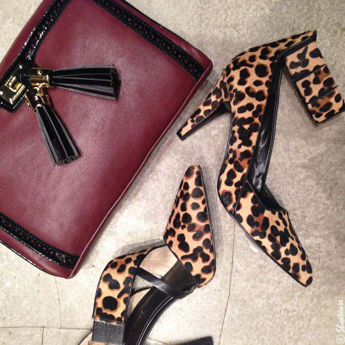 Nine West Fall Winter 2014 Collection Toronto Preview - Maroon Purse + Leopard Print Heels