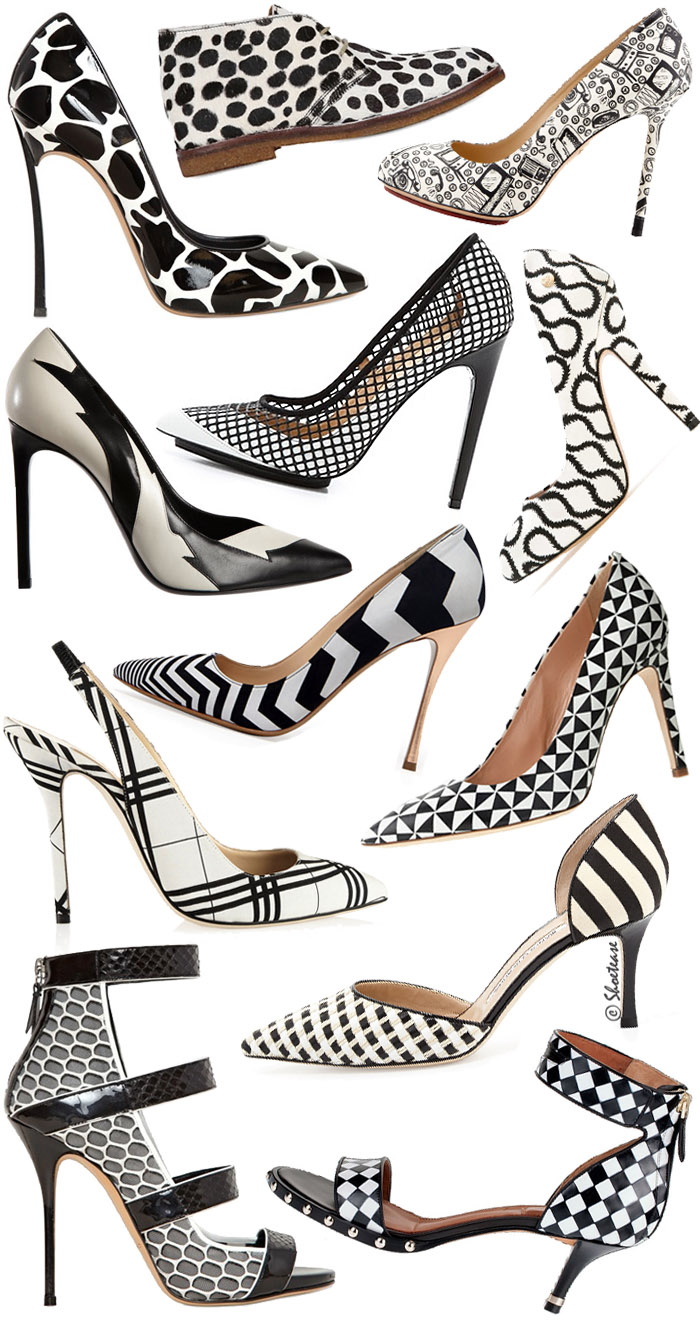 Black & White Patterned High Heel Shoes Trend - Spring 2014