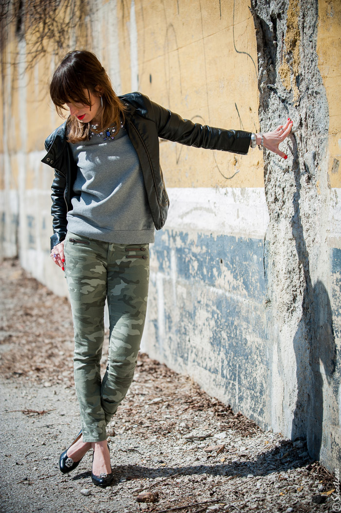 Toronto Street Style Fashion - Black Leather Biker Jacket, Camo pants, grey sweatshirt