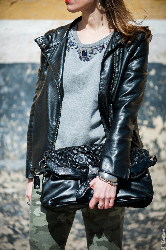 Toronto Street Style Fashion - Black Leather Biker Jacket, Grey Sweat Shirt, Camo Pants