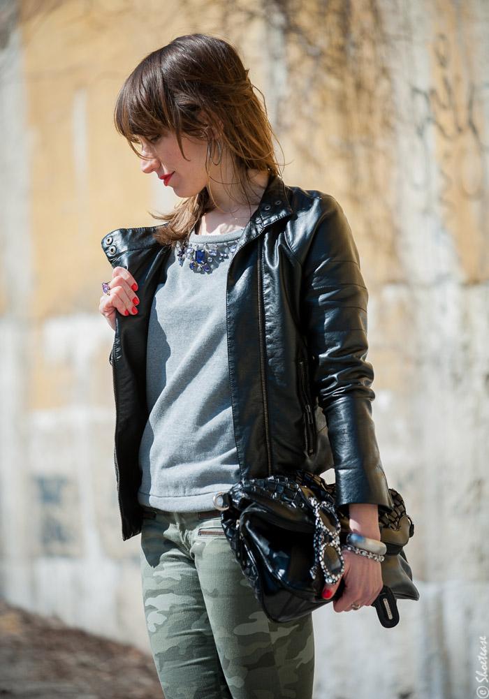 Toronto Street Style Fashion - Black Leather Biker Jacket, Grey Sweatshirt, Camo Pants