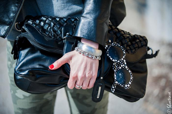 Toronto Street Style Fashion - Black Leather Woven Clutch, Grey Sweat Shirt, Camo Pants, Peter Pilotto for Target Sunglasses