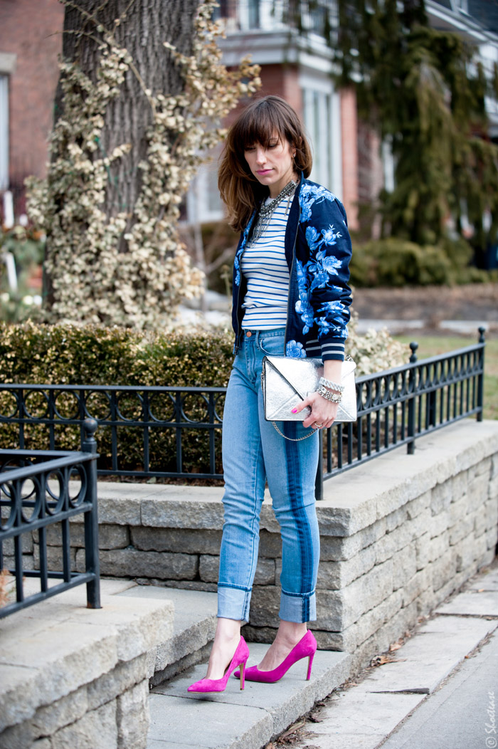 Toronto Street Style Fashion- Blue Floral Bomber, Pink Pointed Pumps