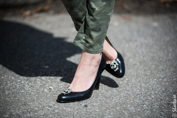 Toronto Street Style Fashion - Camo Pants, Black High Heel Pumps with Sparkle Skull Shoe Clips