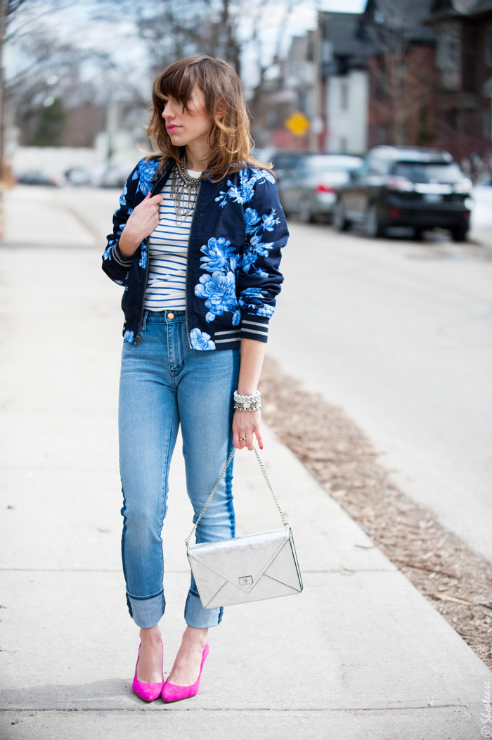 Toronto Street Style Fashion- Gap Blue Flower Bomber, Pink Pointed Pumps