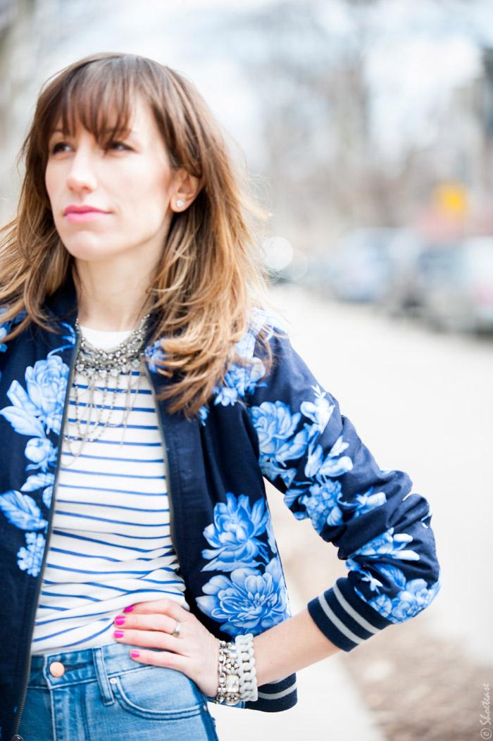 Toronto Street Style Fashion- Gap Flower Bomber, Natical Stripe T-shirt