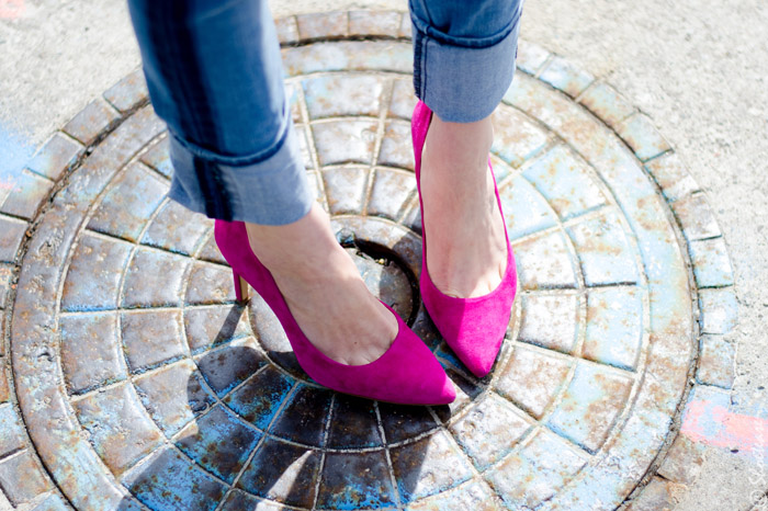 Toronto Street Style Fashion- Pink Pumps, Tuxedo Stripe Skinny Jeans