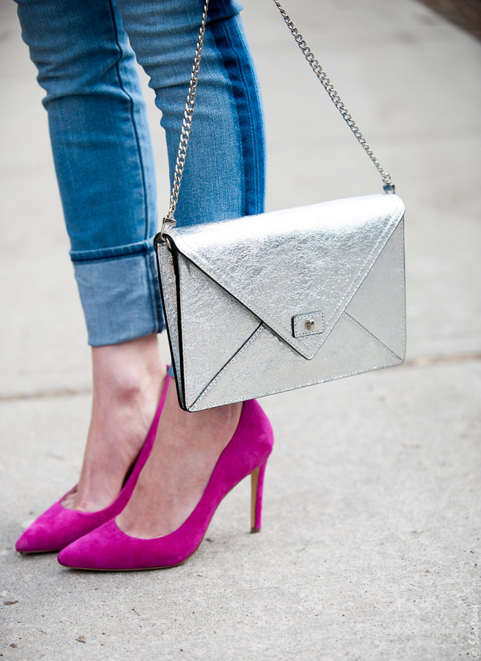 Toronto Street Style Fashion- Silver Clutch, Gap Tuxedo Stripe Skinny Jeans, Pink Pointed pumps