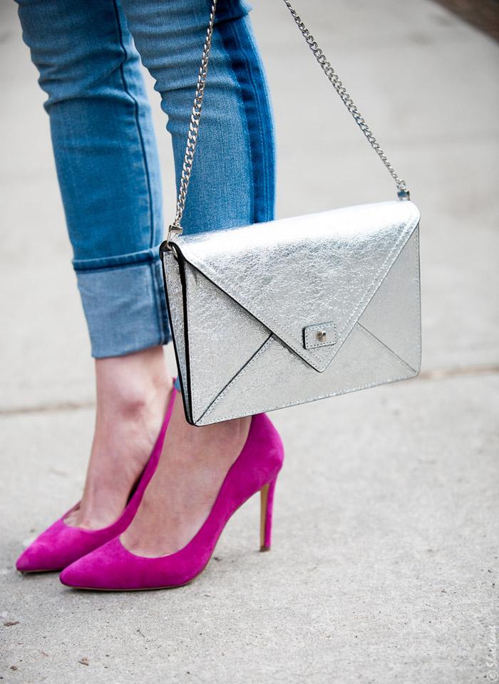 Toronto Street Style Fashion- Silver Clutch, Gap Tuxedo Stripe Skinny Jeans, Pink Pointed pumps