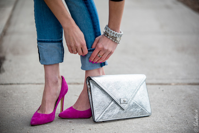 Toronto Street Style Fashion- Silver Clutch, Tuxedo Stripe Skinny Jeans, Pink Pointed pumps