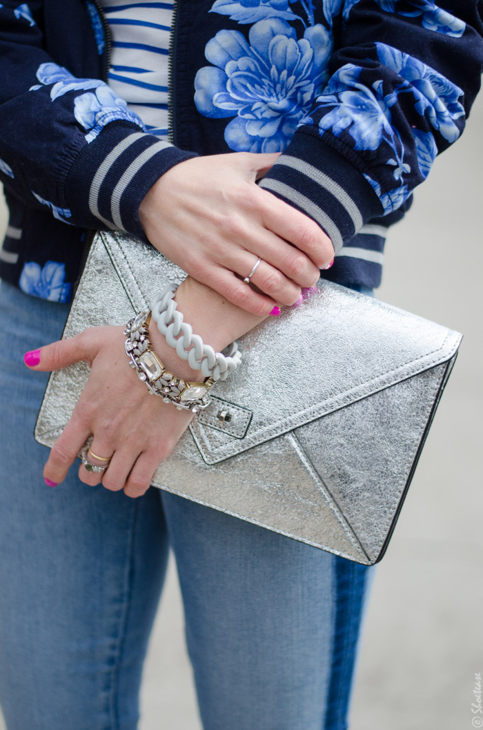 Toronto Street Style Fashion- Silver Clutch, Tuxedo Stripe Skinny Jeans