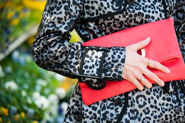 Coral Fold-Over clutch, Leopard Rain Coat