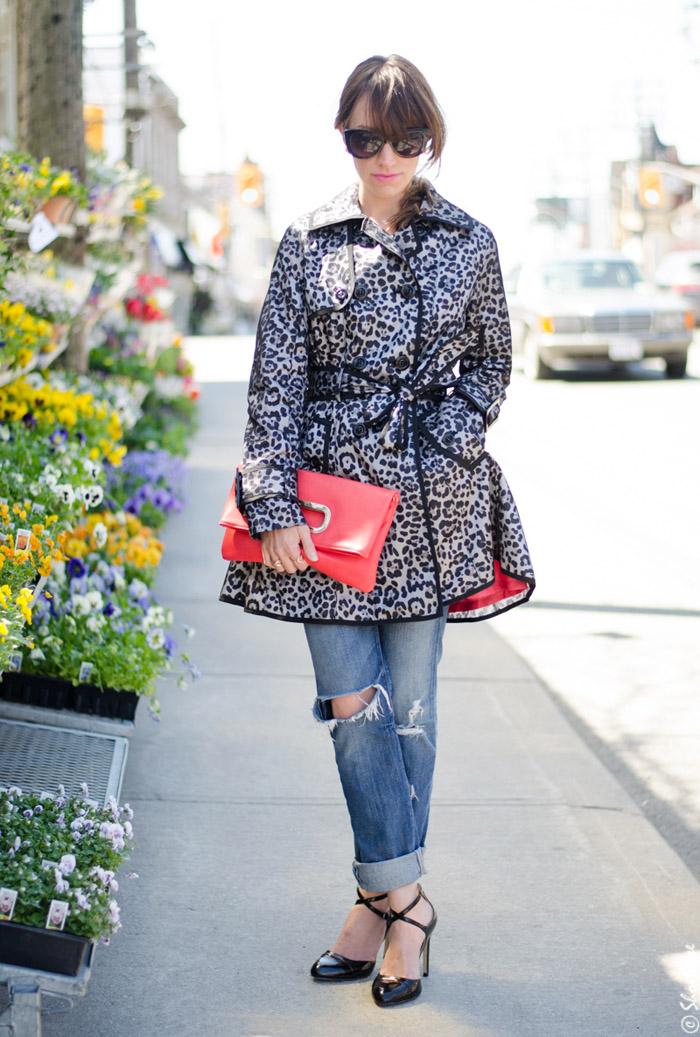 Toronto Street Style Fashion - Leopard Trench Coat