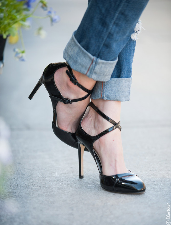 Sexy Black Patent Mary Janes with High Heels