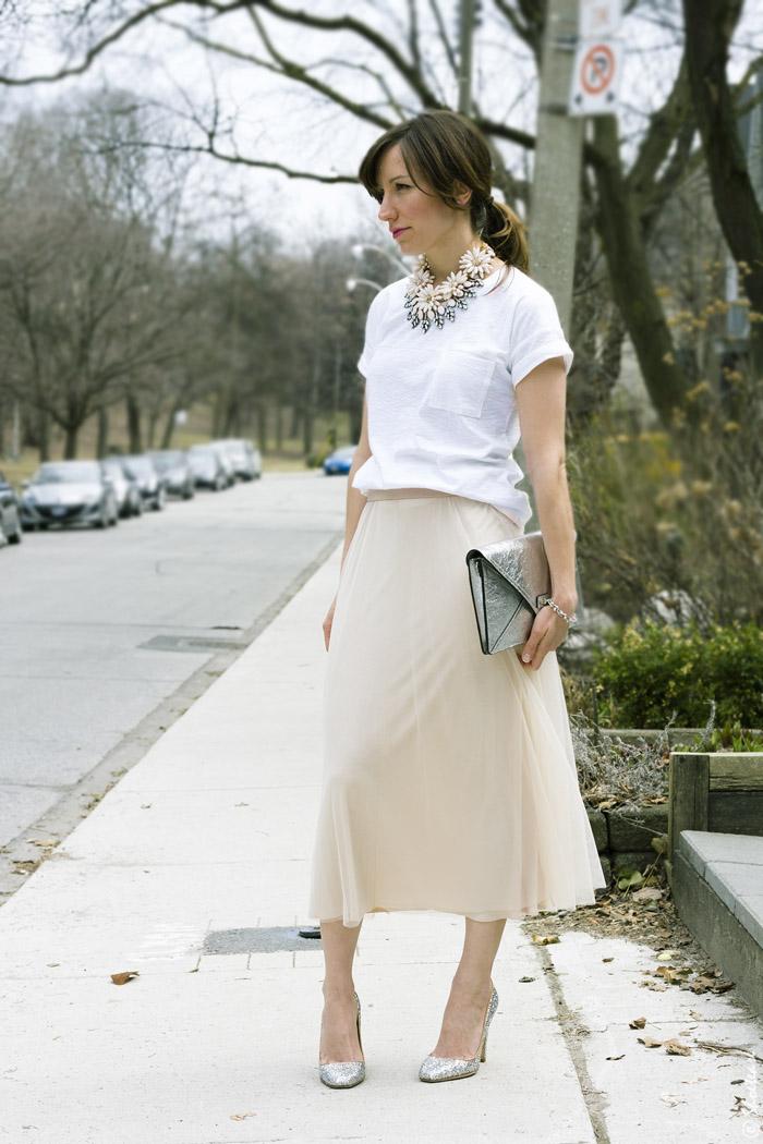 Toronto Street Style Blush Pink Tulle Skirt White T