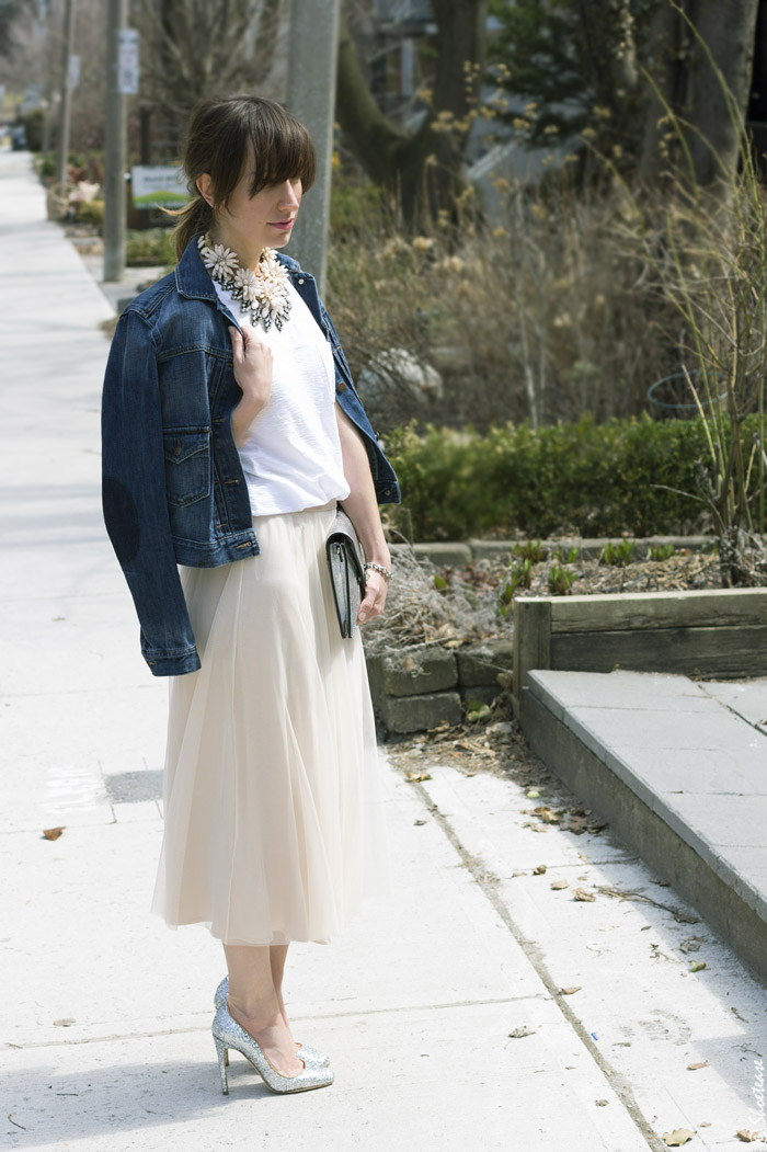 Tulle Skirt Style with White Tee and Denim Jacket