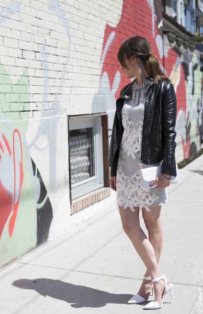 Grey Lace insert Zara Dress
