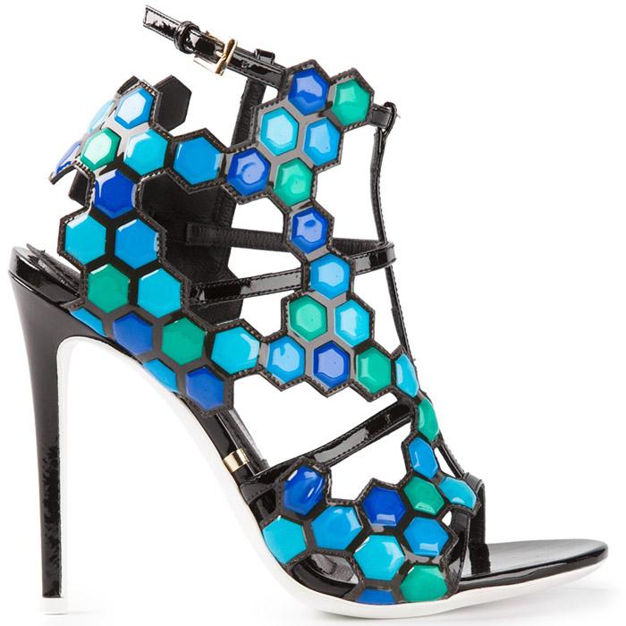 Spring 2014 Shoes! Gianmarco Lorenzi Geometric High Heel Sandals - Blue Green