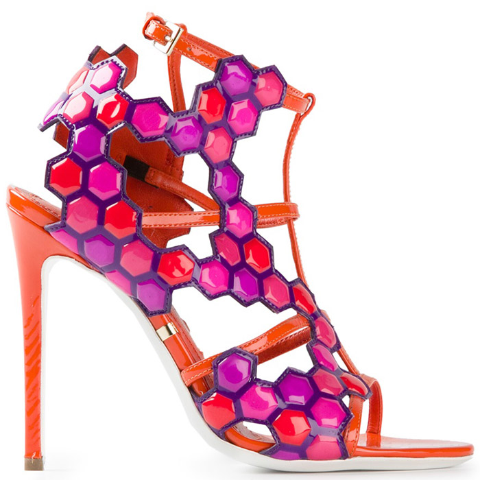 Spring 2014 Shoes! Gianmarco Lorenzi Geometric High Heel Sandals - Pink + Orange