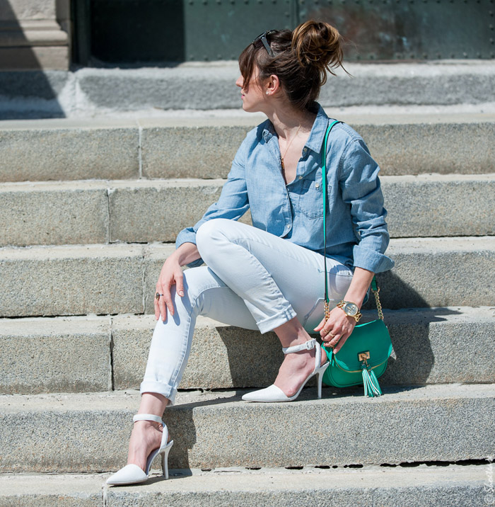 Jeans, Chambray & White High Heels