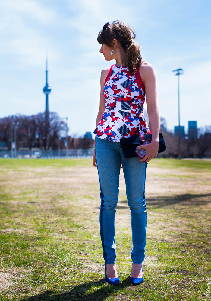 Toronto Fashion- Peter PIlotto Print, Jeans & Blue Suede Shoes
