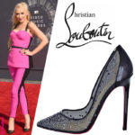 "Gwen Stefani in Christian Louboutin Black ""Body Strass"" Pumps"