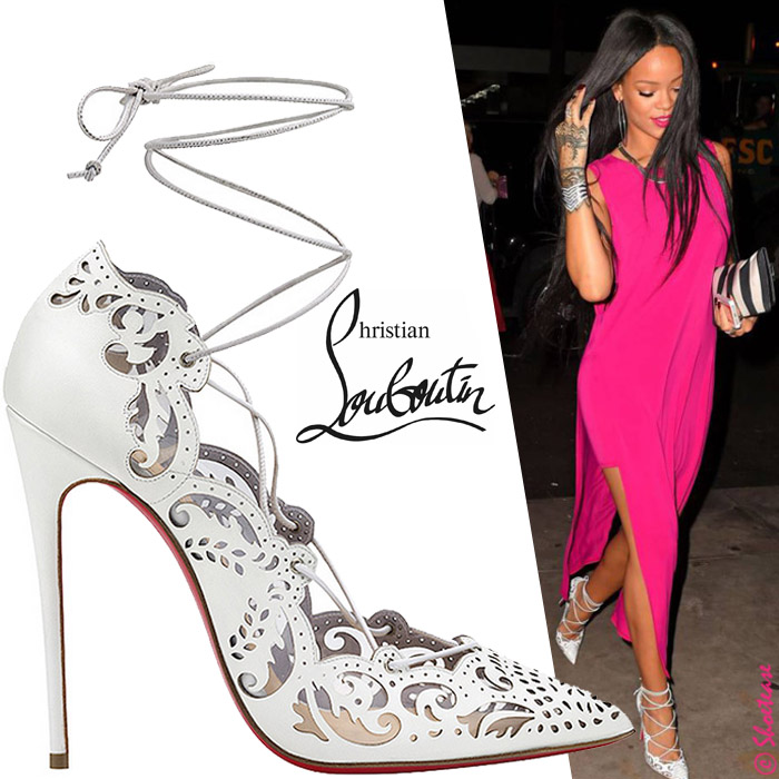 626b42fa7741 Rihanna in Christian Louboutin White Impera Lace-up Pumps