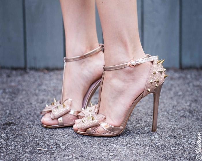 rose gold heels for a black jumpsuit