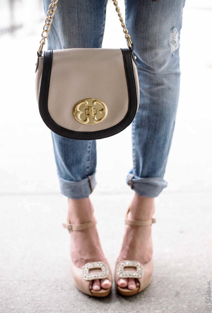 Accessorizing Nude High Heels with Diamond Shoe Jewelry