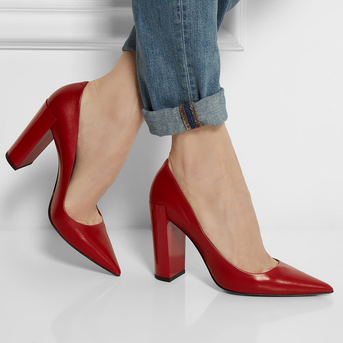 Red Chunky Heel Shoes - Qu Heel