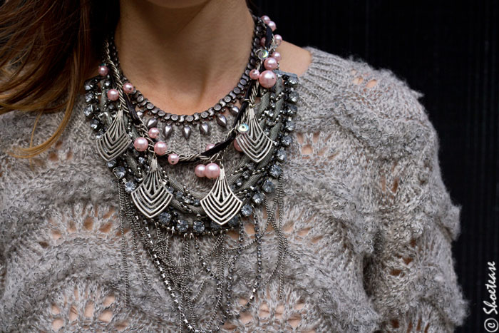 pink layer necklace
