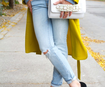 canadian tuxedo black suede pumps outfit