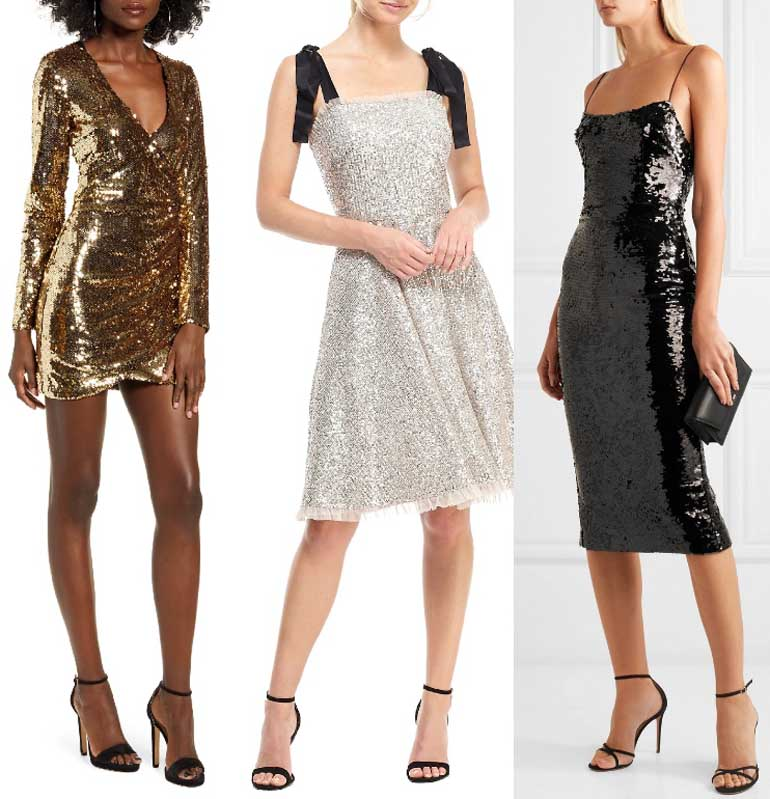 Black Sandals Shoes to Wear with Sequin Dresses