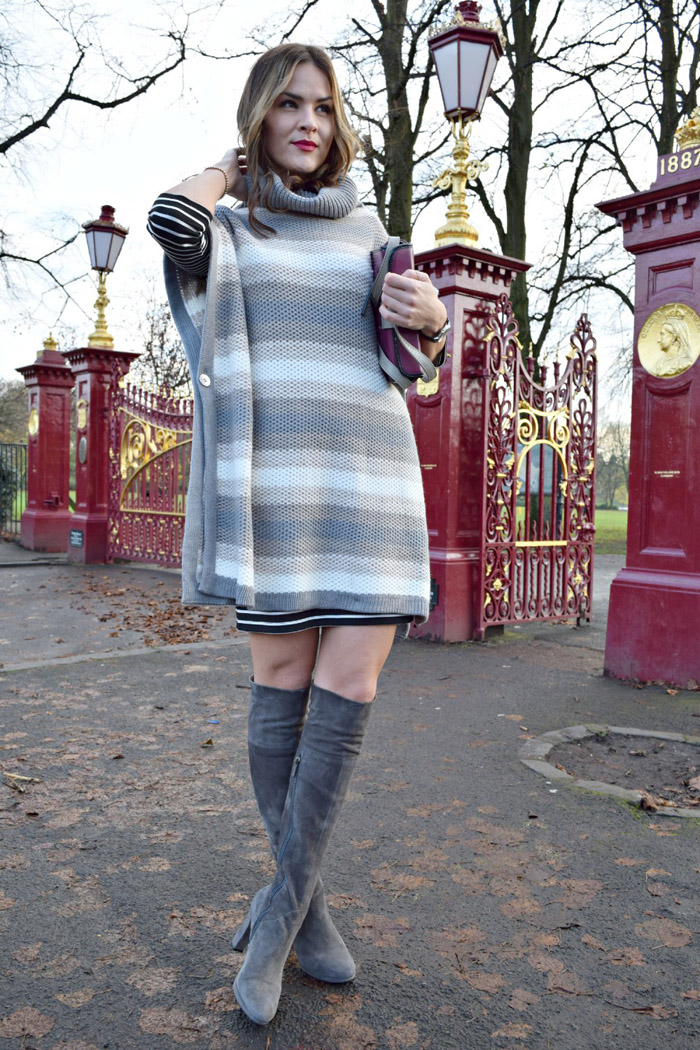 what to wear with grey the knee boots