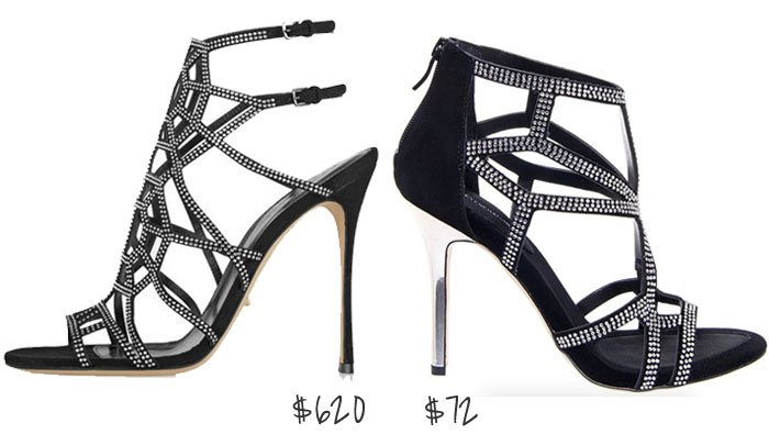 sergio rossi crystal caged heels look for less than $100