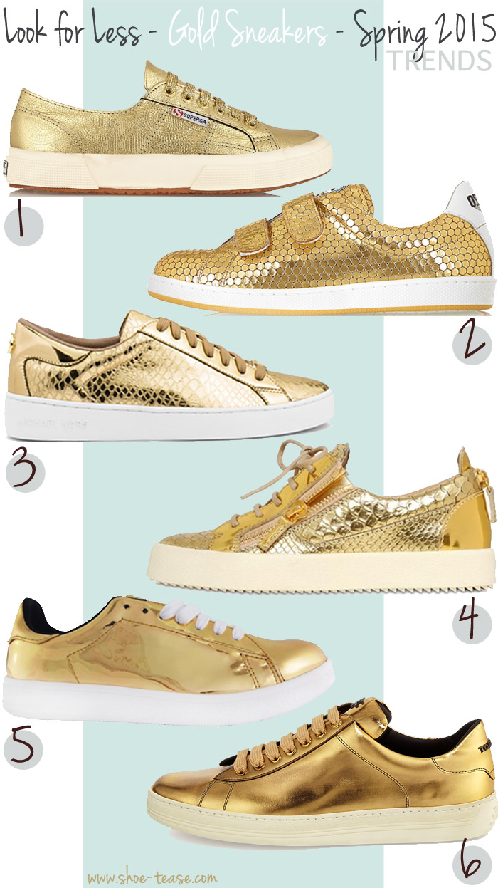 c10c495e83e Look for Less - Best Metallic Gold Sneakers Under  200
