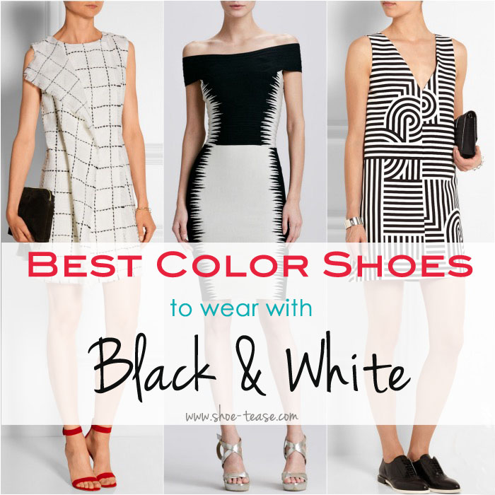 What color shoes to wear with black and white dress for What color shirt goes with a purple skirt