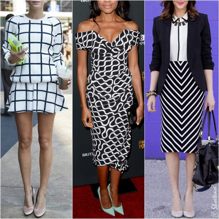 how to wear black and white polka dot dress