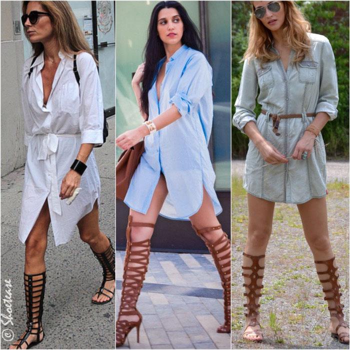 How to Wear Gladiator Sandals Shirt Dress