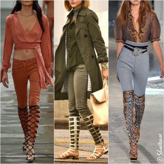 Tall Gladiator Sandals over Jeans