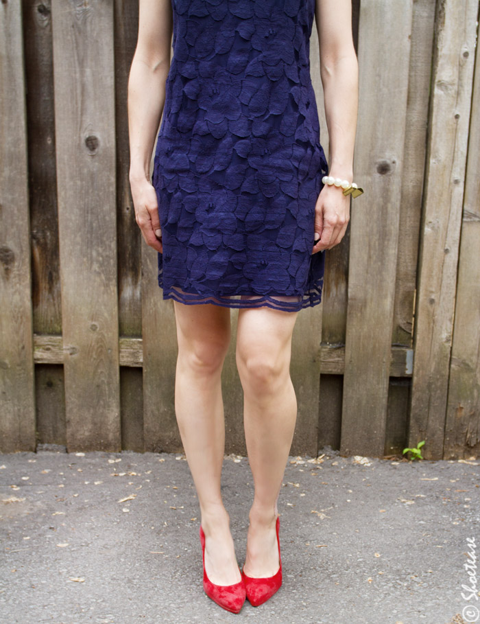 Navy Blue Dress And Red Shoes