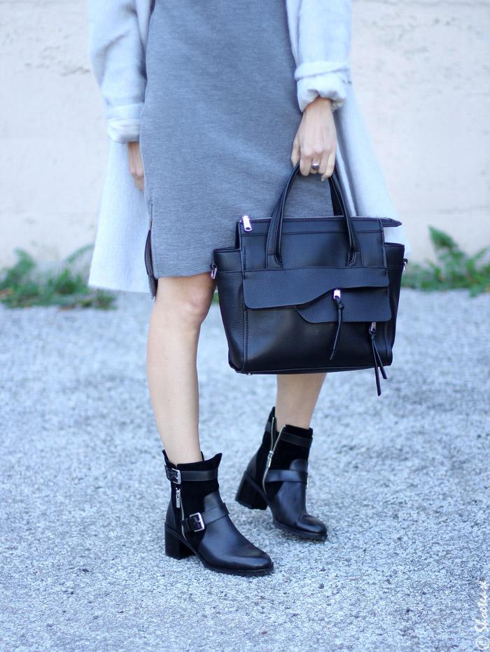 Black Biker Boots Grey Dress
