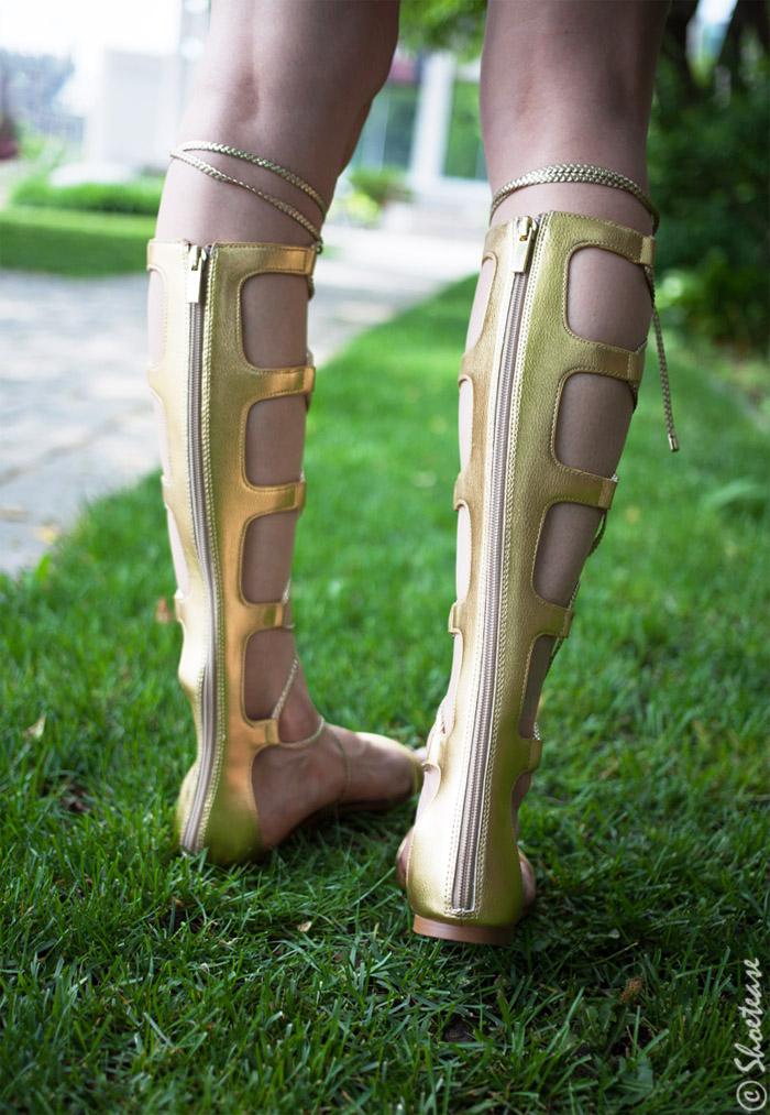 Gold Knee High Gladiator Sandals