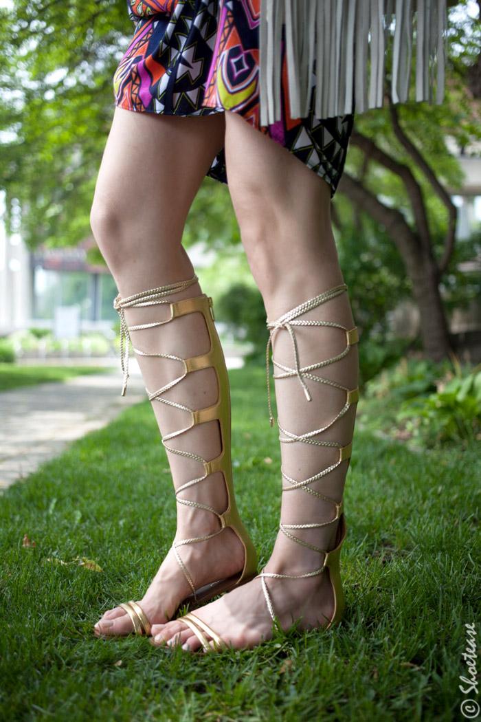 1d7de88d704 Gold Knee High Gladiator Sandals Outfit